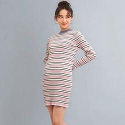 GU 极优 321945 女装针织细条纹针织连衣裙