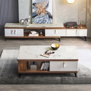 林氏木业北欧简约客厅现代电视柜茶几组合现代大理石纹地柜 LS186M1-A电视柜+LS186L1-A茶几