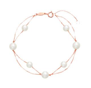CHOW TAI FOOK 周大福 T72249 女士18K玫瑰金白色系珍珠手链 16.25cm