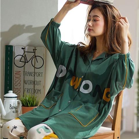 纯禧 RY9238 女士纯棉长袖家居服套装