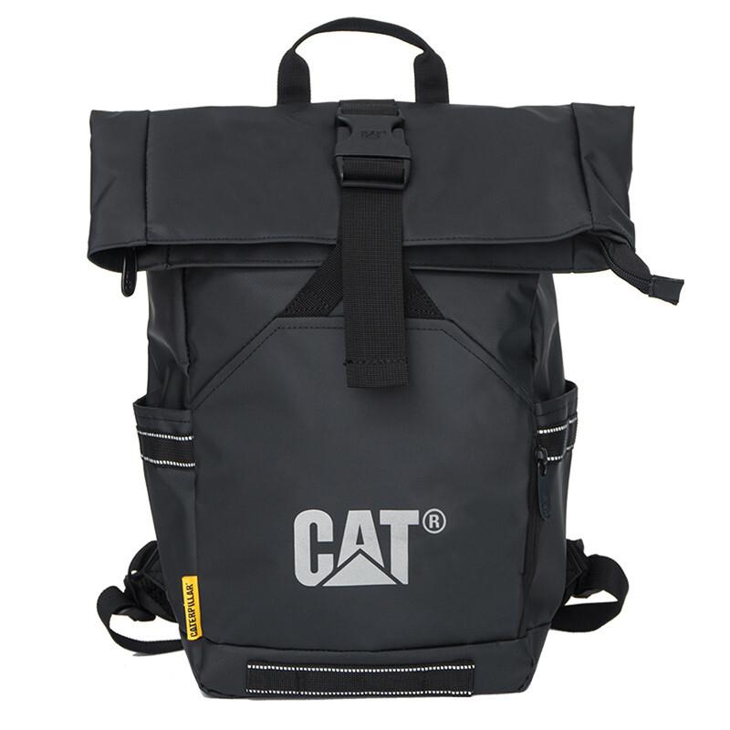 CAT 卡特彼勒 男士PVC防泼水拉链双肩背包83640-01 黑色中号