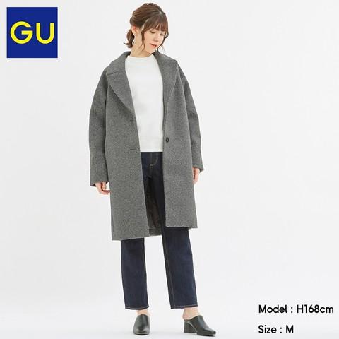 GU 极优 319073 女士毛圈宽松切斯特大衣