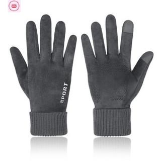 麂皮绒手套男女冬季保暖防风防寒可触屏加绒户外骑行摩托车防滑皮手套 男士 灰色