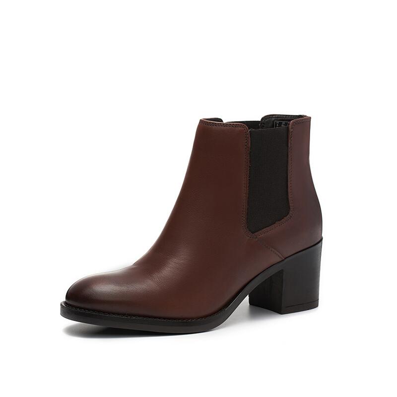 Clarks 其乐 Mascarpone Bay系列女士皮质复古粗高跟短靴261352704 棕褐色36