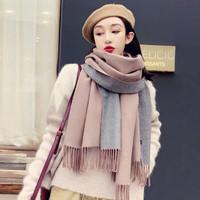 苏森娜围巾女冬季韩版百搭两用双面纯色披肩