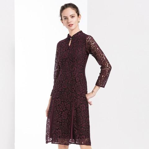 2020秋季复古立领优雅气质九分袖蕾丝中长修身连衣裙