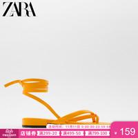 ZARA新款 女鞋特价精选 黄色方头绑带平底凉鞋 11600610090