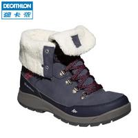 迪卡侬户外运动防水防滑保暖加绒女式高帮登山徒步鞋雪地靴 SH500-X-WORM