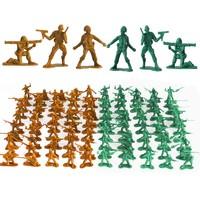IDNOAM 军人小兵人军事塑料模型 沙色+绿色 200个+地图1张