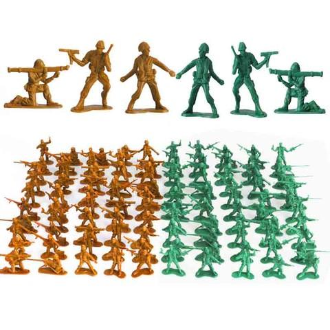 移动专享:IDNOAM 军人小兵人军事塑料模型 沙色+绿色 200个+地图1张