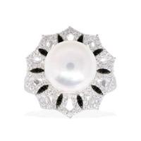 APM Monaco个性淡水珍珠戒指 优雅气质装饰设计感食指戒女银