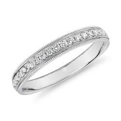 Blue Nile 锯状滚边槽铂金镶钻女士戒指(0.2克拉总重量)