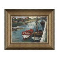 欧式风景油画《船》潘玉良背景墙装饰画挂画