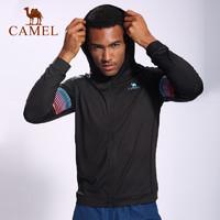 CAMEL骆驼户外运动休闲外套 男款运动休闲跑步立体压花开胸针织外套
