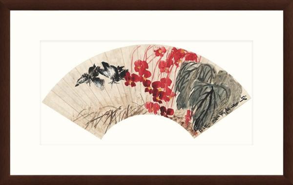 花卉国画水墨画齐白石《恋花双蝶扇》装饰画挂画 茶褐色 79×50cm