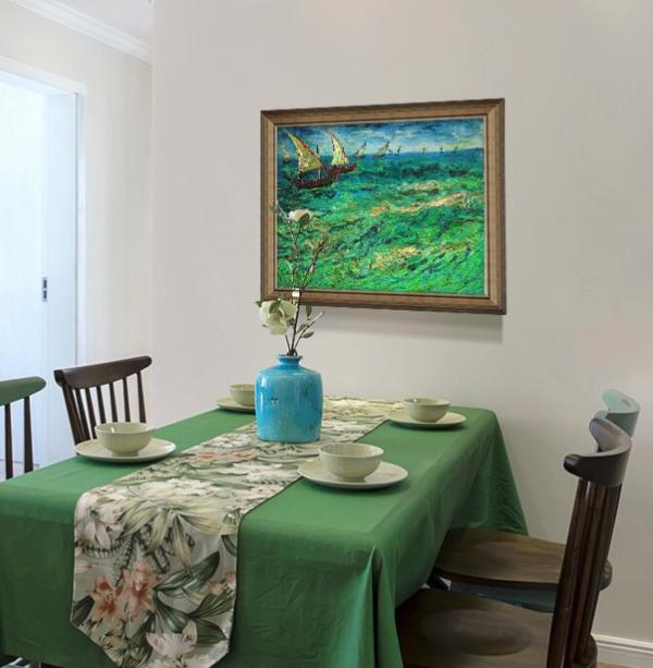 梵高油画《帆船海景》卧室玄关客厅走廊办公室发背景墙装饰画挂画 典雅栗(偏金色) 67×58cm