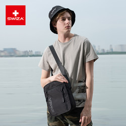 双十一特价限时购 Swiza男士大容量帆布休闲运动百搭单肩斜挎胸包