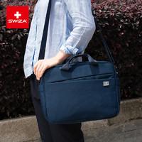 双十一特价限时购  Swiza男士大容量多功能商务带套杆手提单肩公文电脑包包
