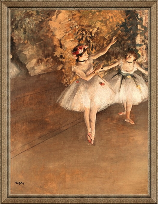 人物油画《两个芭蕾舞女》沙发背景墙装饰画挂画 典雅栗(偏金色) 54×69cm