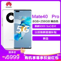 华为/HUAWEI Mate 40 Pro 5G 8GB+256GB 釉白色 麒麟9000