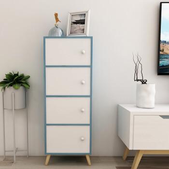木以成居 储物柜 玩具收纳柜 实木腿落地带门木质简约阳台柜子 四层书柜书架 复古蓝 白色LY-4107