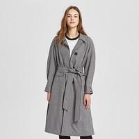 羊毛MECITY女装女士潮流时尚简约西装领系带长款风衣外套女