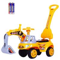 嗨拼彩儿童挖掘机滑行车可骑可坐 黄色加大炫酷款灯光音乐带推把
