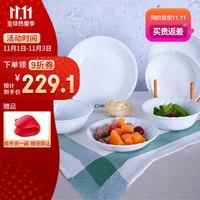 美国康宁餐具套装CORELLE 白色螺纹系列6件组