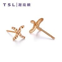 TSL 谢瑞麟 AB991 18K玫瑰金双C耳钉
