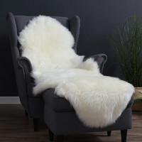 WOOLTARA 澳洲羊毛皮毛一体沙发垫 米白色 180x55cm
