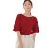HSTYLE 韩都衣舍 女士抽绳可调节领型正反两穿短袖T恤CQ9684 红色M