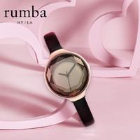 rumbatime简约时尚手表ins网红潮流小众女表石英表皮表带腕表新品
