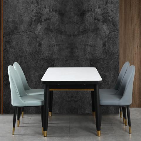 山头儿 北欧轻奢钢化玻璃餐桌可伸缩折叠 小号桌+4软包椅
