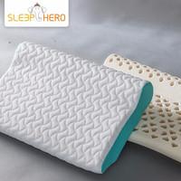 睡眠英雄(SleepHero)泰国乳胶枕 进口天然乳胶枕头 透气枕芯 成人颈椎枕 圆柱凉爽款