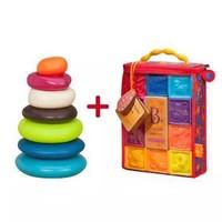 B.Toys 比乐 捏捏乐数字浮雕软积木玩具+水漂石堆环 *2件