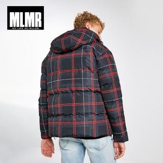MLMR 218312534 男士格纹连帽羽绒服