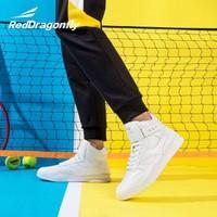 红蜻蜓 男士新品时尚潮流柔软舒适魔术贴高帮运动男鞋WTA93471X 白色 43 *2件