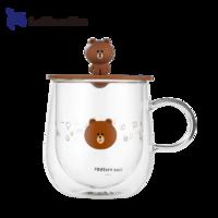 Luckin Coffee 瑞幸咖啡 Line Friends联名款 双层玻璃杯 330ml