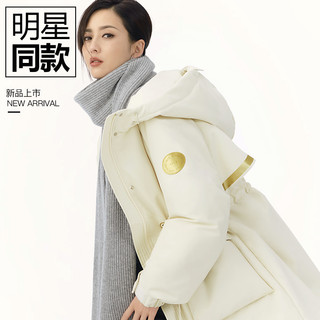 YAYA 鸭鸭 DSH06B006O 女款白色派克羽绒服中长款
