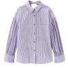 LED'IN 乐町 女士纯棉条纹宽松长袖衬衫C2CA91201 婴儿蓝L
