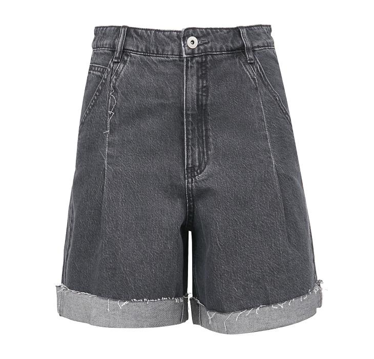 ONLY 女士纯棉高腰直筒牛仔短裤120243547 深牛仔灰色XSR