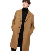 UNIQLO 优衣库 男士长款纯色单排扣羊毛大衣429297 褐色S