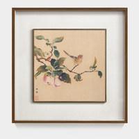 艺术家的礼物 花鸟系列 林椿名作复刻版画 枇杷山鸟图 柚木双层框 55*55cm