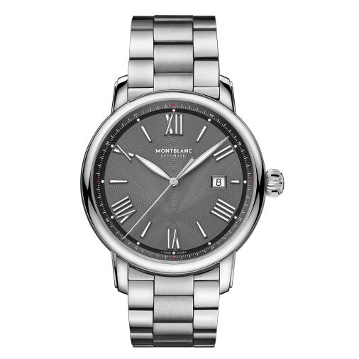 MONT BLANC 万宝龙 明星系列 U0126107 43mm 男士机械手表 灰色 银色精钢表带 圆形