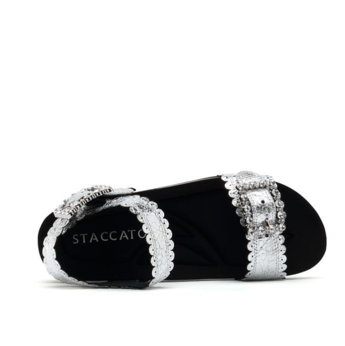 STACCATO 思加图 运动系列 女士坡跟休闲中跟纯色凉鞋9A504BL9 银色36