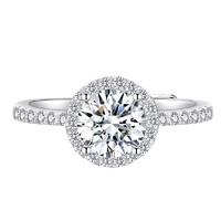 ARMASA 阿玛莎 女士爪镶嵌莫桑石戒指形影不离一克拉围钻款戒指D色