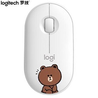 Logitech 罗技 布朗熊Pebble 轻薄型静音双模鼠标 LINE FRIENDS系列