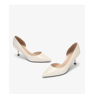 DAPHNE 达芙妮 女士纯色尖头浅口高跟鞋1019102032 米白色38