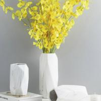 Hoatai Ceramic 华达泰 北欧石纹几何大号花瓶(含5束跳舞兰)