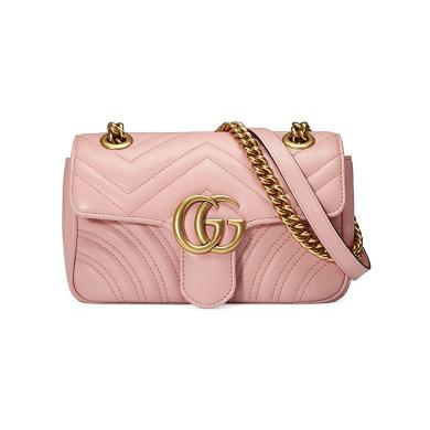 Gucci GG Marmont系列 女士mini单肩包 446744-DTDT-5909 浅粉色